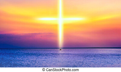 Heavenly Cross . Religion symbol shape .  Dramatic nature background