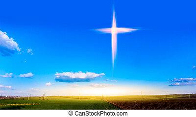 Heavenly Cross . Religion symbol shape .  Dramatic nature background