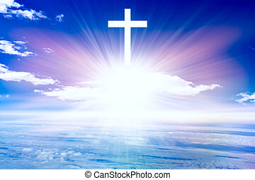 Heavenly Cross . Religion symbol shape .
