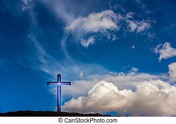 Heavenly Cross . Religion symbol shape . Dramatic nature background .
