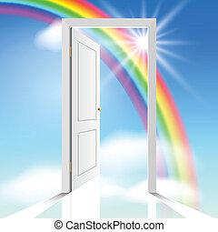 Heavenly doors - heavenly white doors through which the sun...