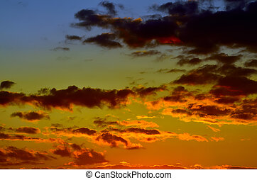 Heavenly dramatic sunset landscape