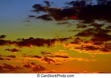 Heavenly dramatic sunset landscape