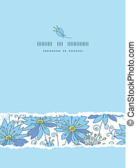 Heavenly flowers vertical torn seamless pattern background...