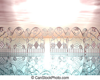 Heavenly Gates - An ornate gate of glass forms a boundary...