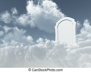 heavenly grave - white grave stone in cloudy sky - 3d...