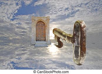 Heavenly Key - Key floating in the sky towards an old door ...