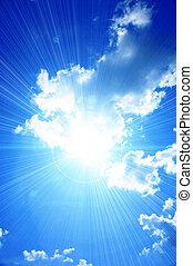Heavenly landscape - Beautiful sunlight through a cloud in...