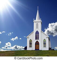 Heavenly Light - Sun rays shining down on a small Christian...