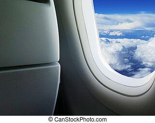 heavenly sky seen through the windows of an airplane