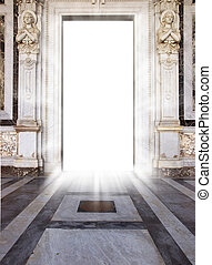 heaven\'s door - luminous door with marble floor and angel...