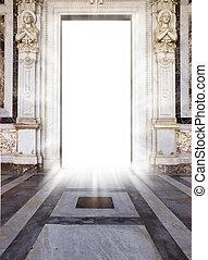 heaven\'s door - luminous door with marble floor and angel...