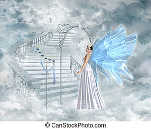 An angel shows the way to heaven