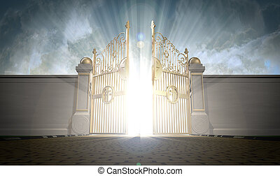 Heavens Gates Opening - A depiction of the pearly gates of ...