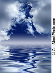 heaven's, gates., scenico, sopra, water., nubi