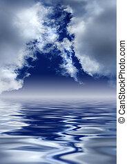heaven's, gates., színpadi, felett, water., elhomályosul