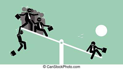 heavier, échelle, groupe, gens, personne seule, bascule, ils., outweighing, que