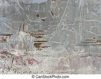 heavily worn damaged industrial dirty pink blue gray wall