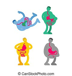 Heaviness in stomach set. bloating and nausea. Sick belly. vector illustration?
