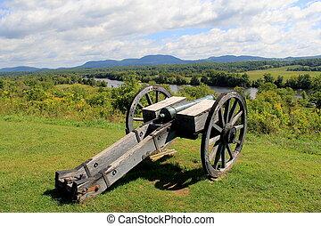 Heavy artillery set near the Hudson - Heavy artillery canon...