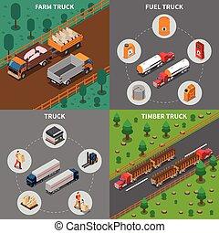 Heavy Automotive Vehicles Isometric Concept