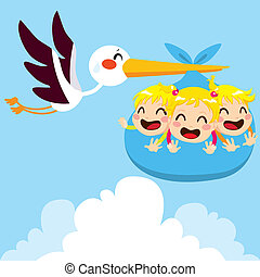 Heavy Baby Triplets - Stork flying carrying heavy package...
