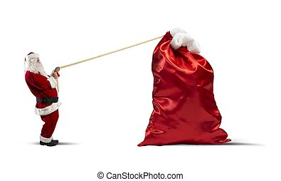 Heavy bag of gifts - Santa claus pulls heavy bag of gifts