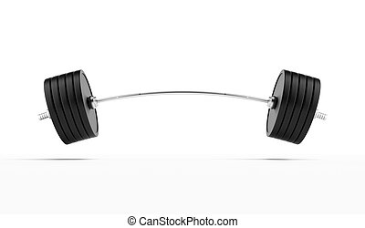 Heavy barbell isolated on a white background