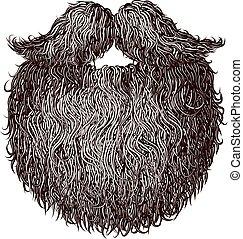 Heavy beard and mustache