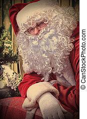 heavy beard - Santa Claus having a rest in a comfortable...