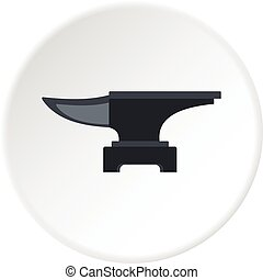 Heavy black metal anvil icon circle