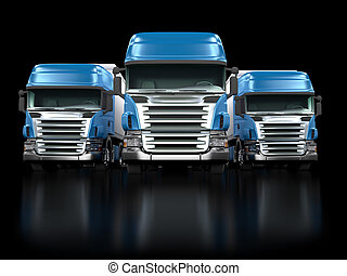 Heavy blue trucks isolated on black