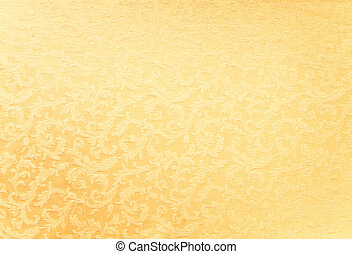 Abstract background of a heavy golden brocade fabric with interwoven repeat design.