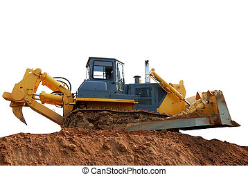 heavy bulldozer with ripper on the ground over white
