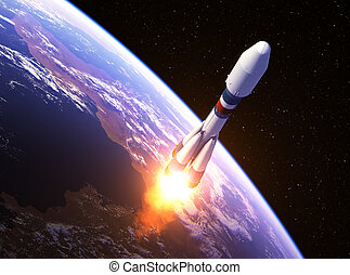 Heavy Carrier Rocket Launch In Space. 3D Illustration.