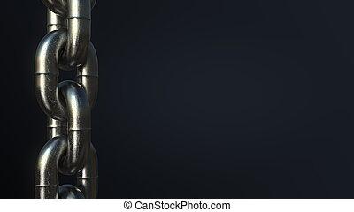 Heavy chain links against black background. Bonds, ...