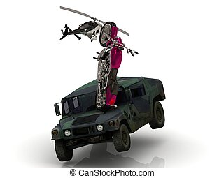 heavy civil motorcycle has split in army jeep