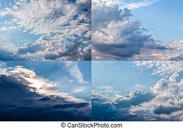 heavy clouds on a blue sky image set - set of images with...