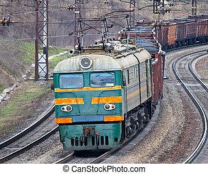 Heavy coal train - Heavy electric coal train in Ukraine