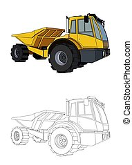 heavy construction equipment, black and yellow truck isolated on white background