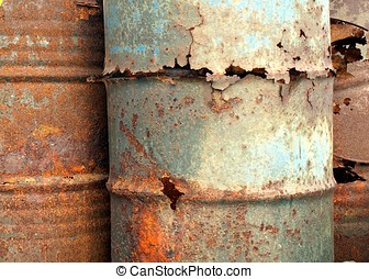 Heavy Corrosion - A close view of rusted out oil barrels