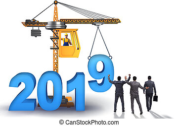 Heavy crane lifting numbers in year of 2019 concept