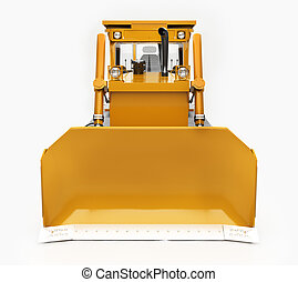 Heavy crawler bulldozer isolated on a light background with...