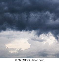 heavy dark rain clouds in spring sky