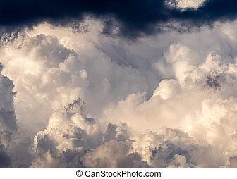 Heavy dark storm raining clouds
