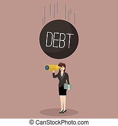 Heavy debt falling to careless business woman