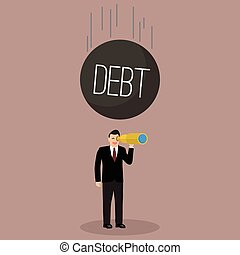 Heavy debt falling to careless businessman