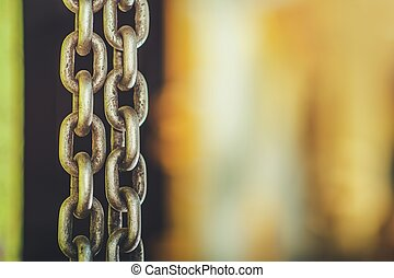 Heavy Duty Chain and Right Side Copy Space. Industrial ...