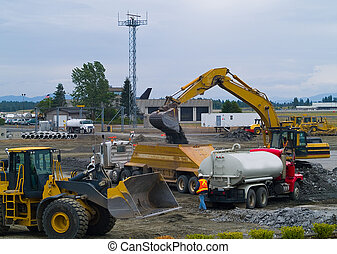 Heavy Duty construction equipment at work site