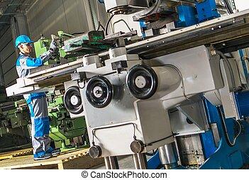 Heavy Duty Lathe Machinery Operator. Caucasian Metalworking ...